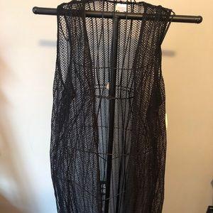 LulaRoe black lace Joy vest NWT
